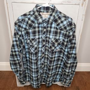 Wrangler Wrancher Plaid Flannel Pearl Snap XL